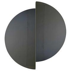Luna™ 2 Half-Moon Pieces Black Tinted Circular Bespoke Frameless Mirror, Medium