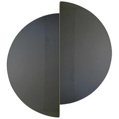 Luna™ 2 Half-Moon Pieces Black Tinted Round Frameless Modern Mirror, Oversized