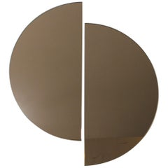 Luna™ 2 Half-Moon Pieces Bronze Tinted Round Minimalist Frameless Mirror, Large