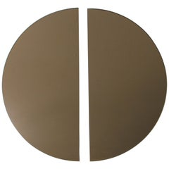 Luna™ 2 Half-Moon Pieces Bronze Tinted Round Frameless Bespoke Mirror, Medium