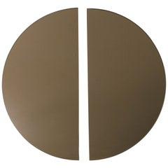 Luna™ 2 Half-Moon Pieces Bronze Tinted Round Frameless Bespoke Mirror, Oversized
