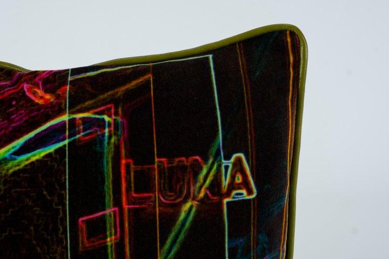 Leather Luna Art Photography Velvet Pillow by Vandertol Studios For Sale