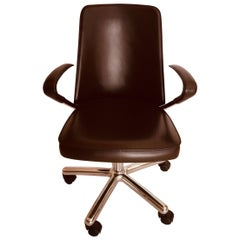 Luna Brown Leather Office Chair by Martino Perego for Fasem