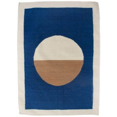 Luna Circle Blue Handwoven Modern Wool Rug, Carpet and Durrie