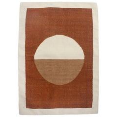 Luna Circle Ochre Handwoven Modern Wool Rug, Carpet and Durrie