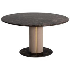 Luna Dining Table with Marble Top and Base and Brass Color Trimmings