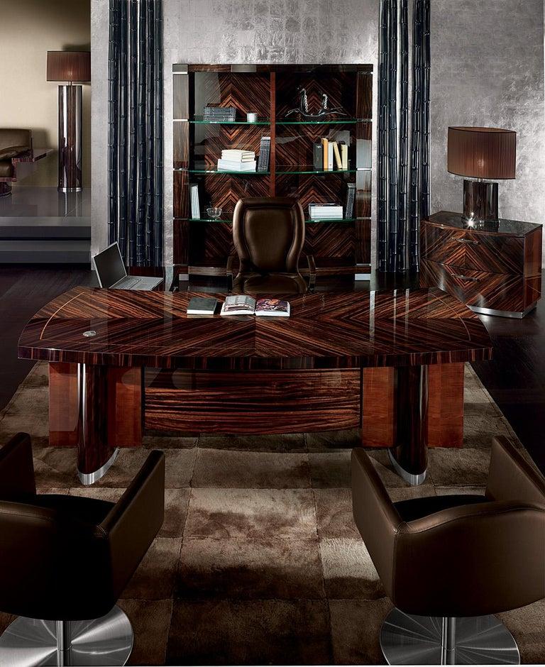 Art Deco Luna Ebony Macassar Night Table by Giorgio Collection For Sale