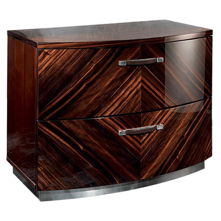 Luna Ebony Macassar Night Table by Giorgio Collection For Sale