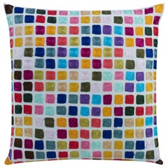Luna Hand-embroidered Accent Pillow with Colorful Pattern by CuratedKravet