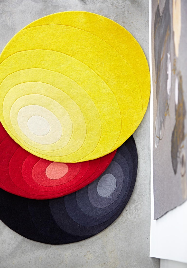 Modern Luna Hand-Tufted Rug in Dark Yellow by Verner Panton For Sale