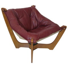 Luna Leather Lounge Chair by Odd Knutsen Norway