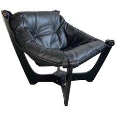 """Luna"" Lounge Chair by Odd Knutsen in Black Leather"