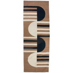 Luna Mod Black Handwoven Modern Wool Rug, Carpet and Durrie