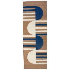 Luna Mod Blue Handwoven Modern Wool Rug, Carpet and Durrie