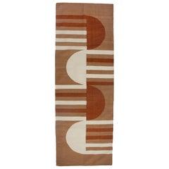 Luna Mod Ochre Handwoven Modern Wool Rug, Carpet and Durrie