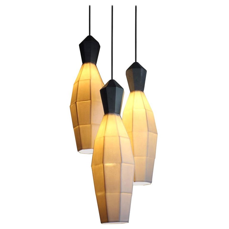 Luna Modern Contemporary Hanging Pendant Cluster White Translucent Porcelain For Sale