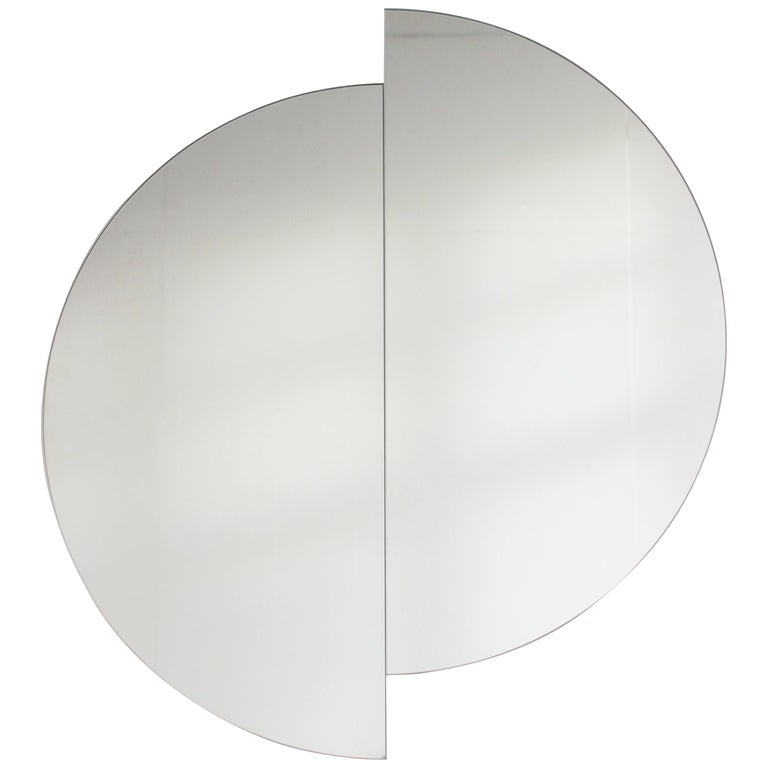 Silver Tinted Luna Orbis Round Mirror 2 Half Moon Pieces