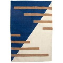 Luna Stripes Blue Handwoven Modern Wool Rug, Carpet and Durrie