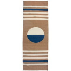 Luna Stripes and Circle Handwoven Modern Wool Rug, Carpet and Durrie