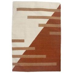 Luna Stripes Ochre Handwoven Modern Wool Rug, Carpet and Durrie