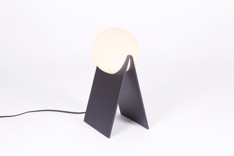 Modern LUNA Table Lamp in Brass and Hand Blown Glass by Estudio Persona For Sale
