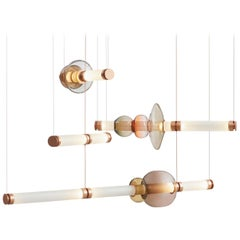 Luna Three-Tier Modern Chandelier with Glass Globes and Glass Tubes