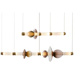 Luna Two-Tier Modern Chandelier with Glass Globes and Glass Tubes