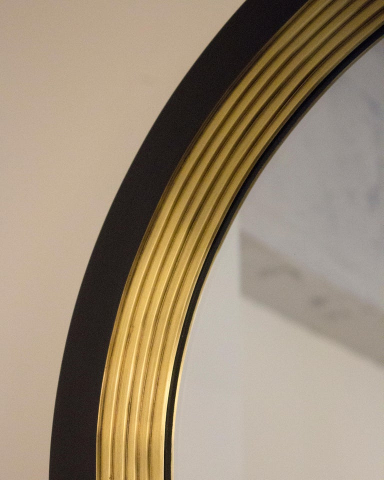 Other Luna Wall Mirror in a Blackened Brass and Satin Brass Finish For Sale