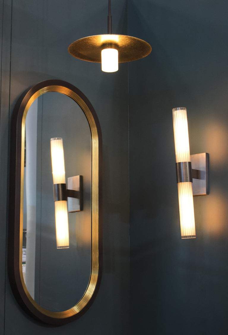 American Luna Wall Mirror in a Blackened Brass and Satin Brass Finish For Sale