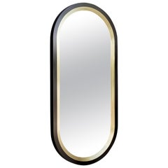Luna Wall Mirror in a Blackened Brass and Satin Brass Finish