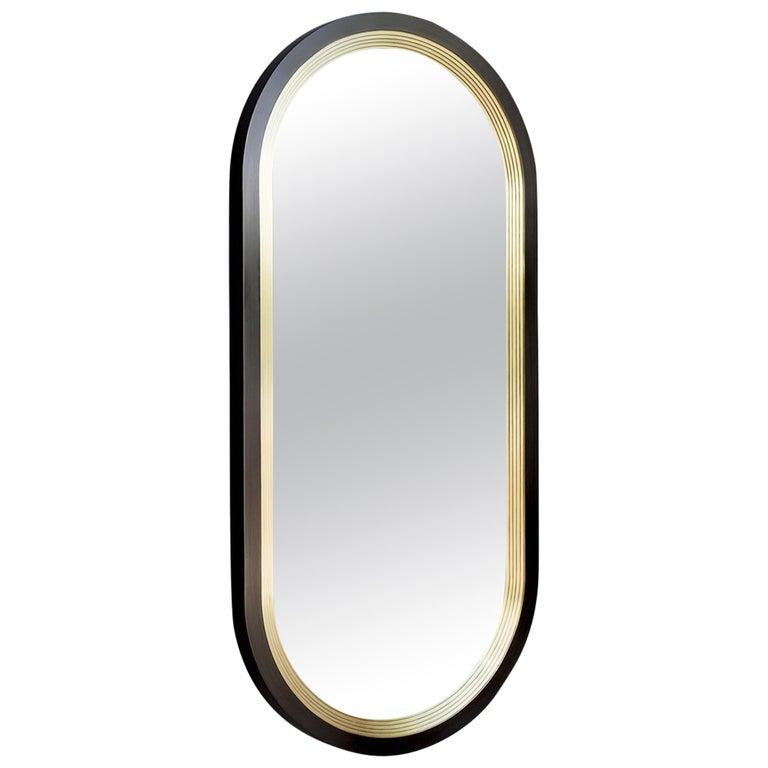 Luna Wall Mirror in a Blackened Brass and Satin Brass Finish For Sale