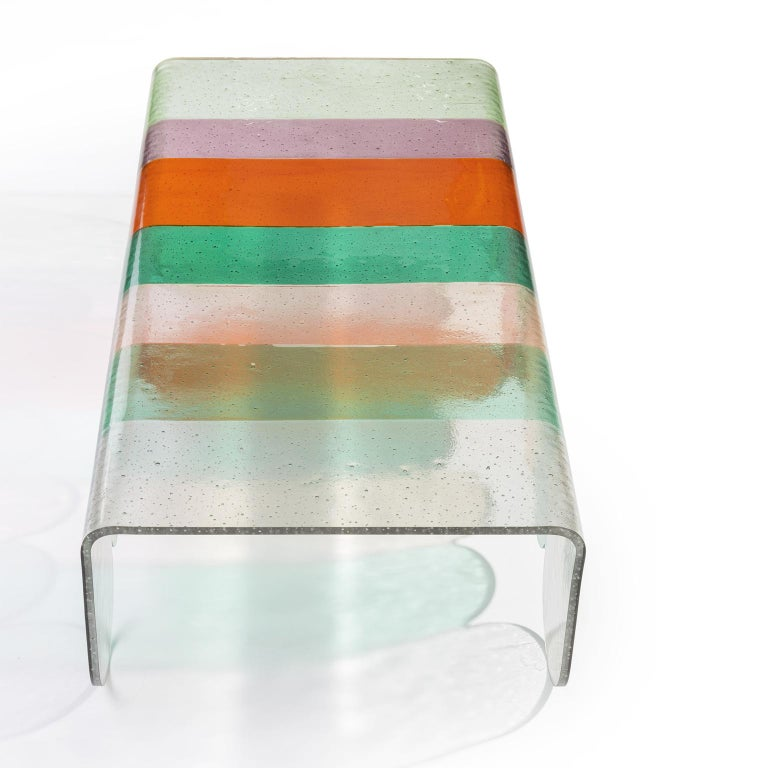 Italian Lunapark Colored Murano Glass Coffee Table, New Shades For Sale