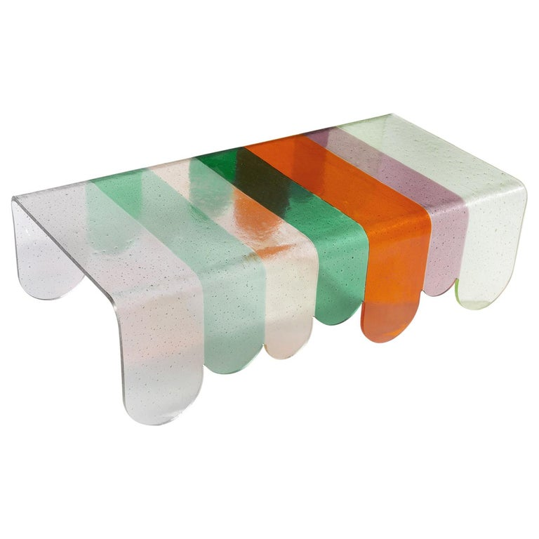 Lunapark Colored Murano Glass Coffee Table, New Shades For Sale