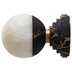 Lunar Applique Portoro Marble and Brushed Brass