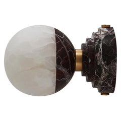 Lunar Applique Rosso Levanto Marble and Brushed Brass