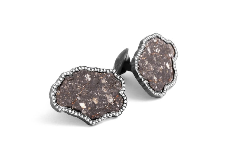 Cushion Cut Lunar Breccia 18 Karat Gold Cufflinks, Limited Edition For Sale