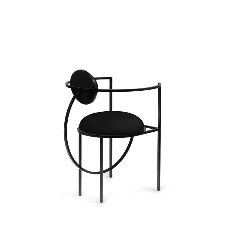 British Lunar Chair in Black Fabric and Coated Steel, by Lara Bohinc For Sale