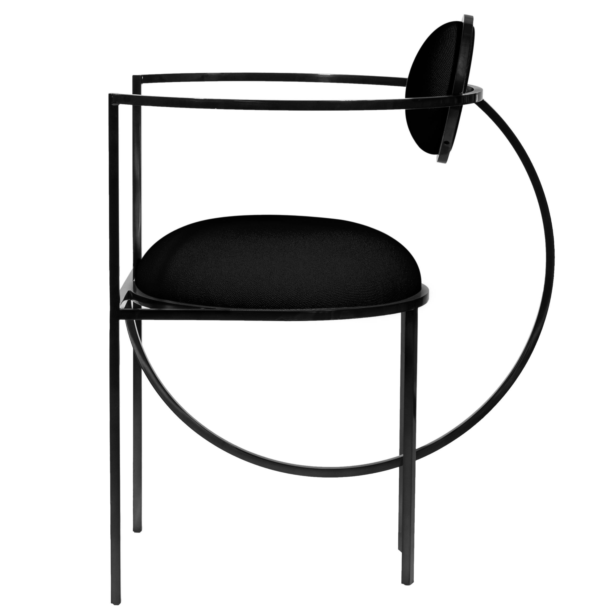 Lunar Chair in Black Fabric and Coated Steel, by Lara Bohinc