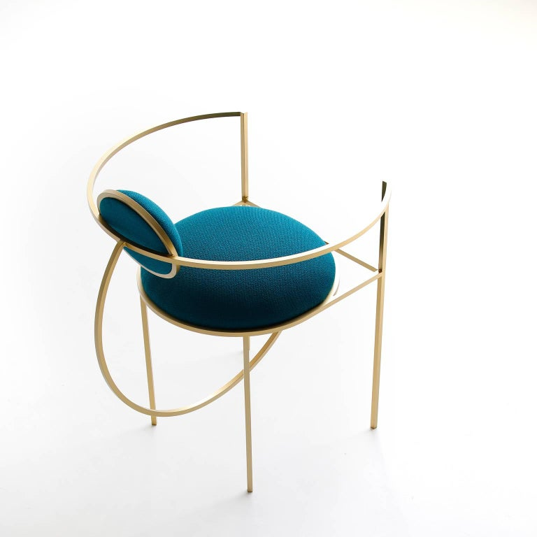 Modern Lunar Chair in Blue Fabric and Galvanised Steel, by Lara Bohinc For Sale
