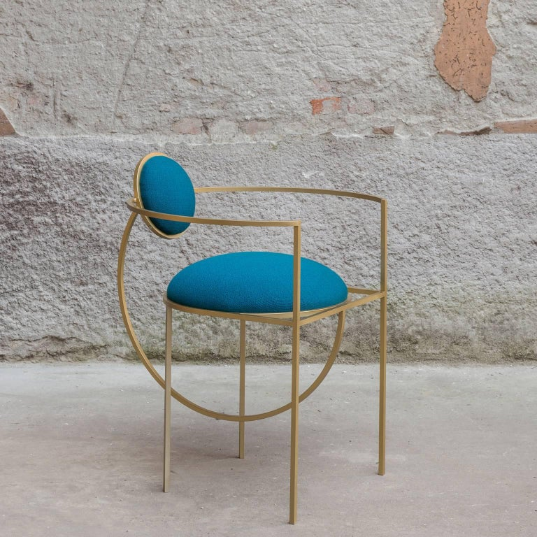 Lunar Chair in Blue Fabric and Galvanised Steel, by Lara Bohinc In New Condition For Sale In London, GB