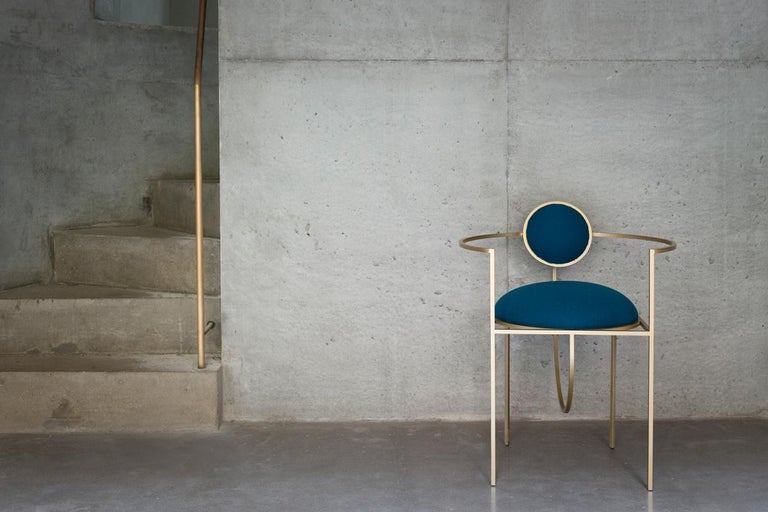 Contemporary Lunar Chair in Blue Fabric and Galvanised Steel, by Lara Bohinc For Sale