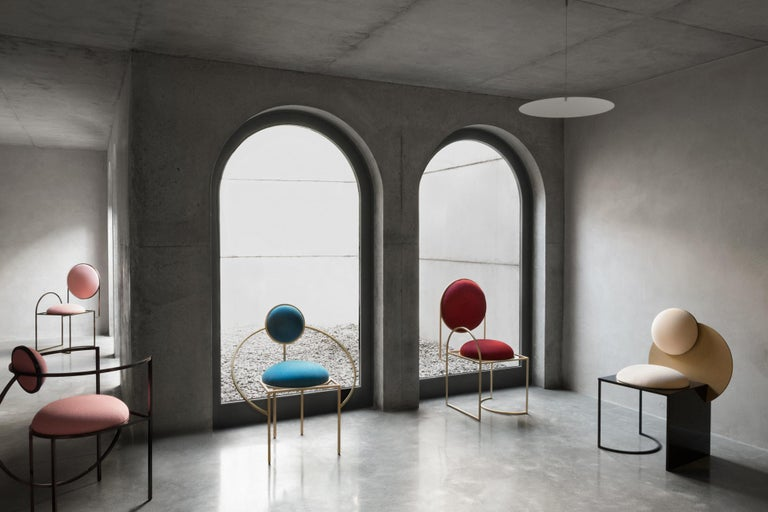 Wool Lunar Chair in Blue Fabric and Galvanised Steel, by Lara Bohinc For Sale