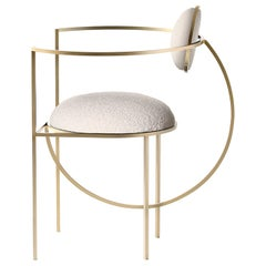 Lunar Chair in Cream Boucle Wool Fabric and Brushed Brass, by Lara Bohinc