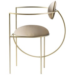 Lunar Chair in Cream Wool Fabric and Brushed Brass, by Lara Bohinc