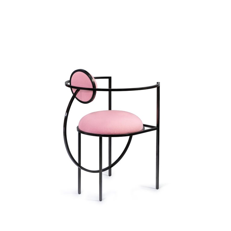 Modern Lunar Chair in Pink Fabric and Bronze Metal by Lara Bohinc For Sale