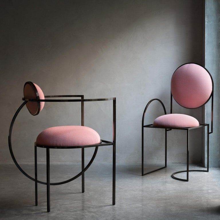 British Lunar Chair in Pink Fabric and Bronze Metal by Lara Bohinc For Sale