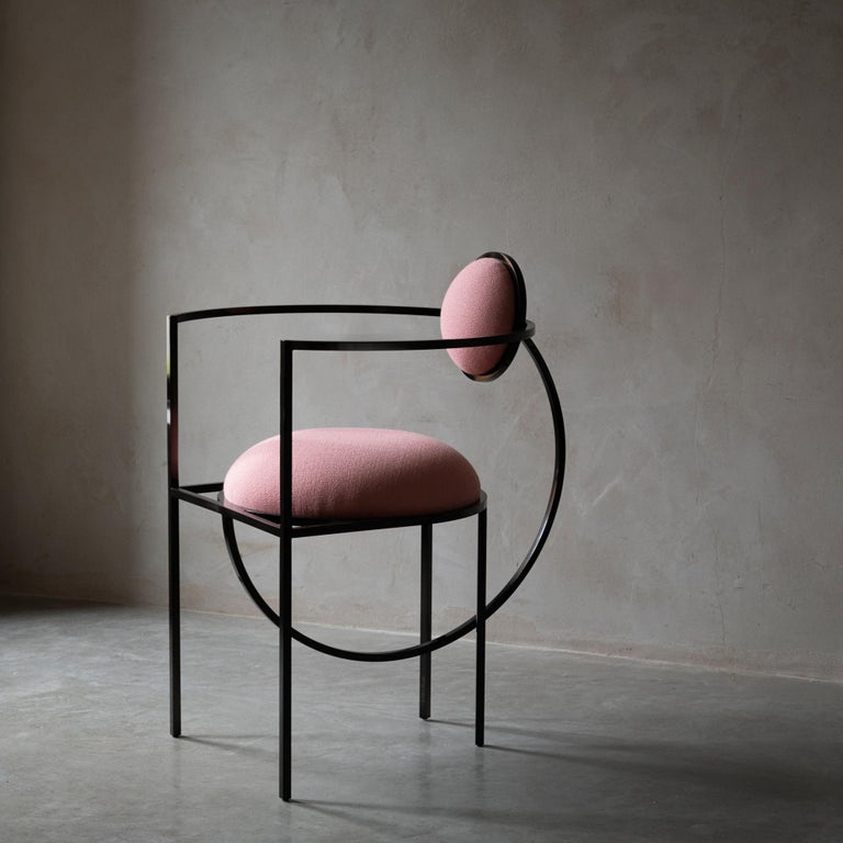 Metalwork Lunar Chair in Pink Fabric and Bronze Metal by Lara Bohinc For Sale
