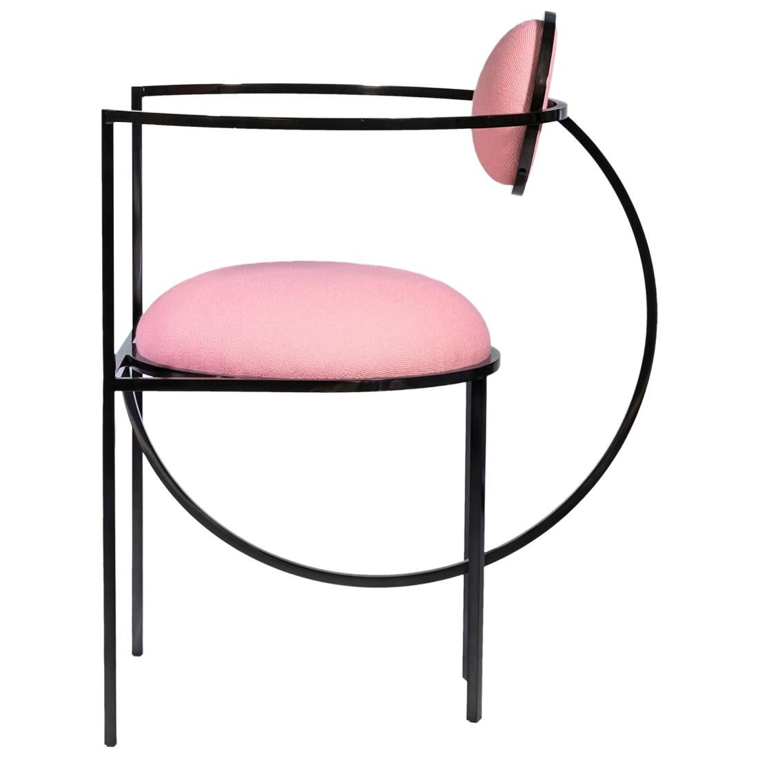 Lunar Chair in Pink Wool Fabric and Black Steel Frame by Lara Bohinc