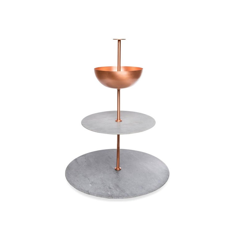 Italian Lunar Cycle Multi-Layered Stand  in gray marble and copper by Elisa Ossino For Sale