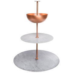 Lunar Cycle Multi-Layered Stand  in gray marble and copper by Elisa Ossino